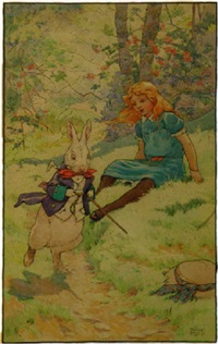 seated alice watching rushing white rabbit by frank adams