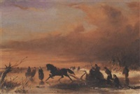 skaters and a horse-drawn sledge on the ice by johannes (jan) tavenraat