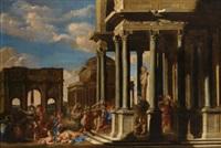 an architectural capriccio with a bacchanalian procession by giovanni benedetto castiglione (il grechetto) and filippo gagliardi
