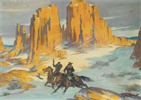 cowboys pursued through snowy canyon by harold winfield scott