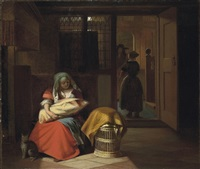 a lady nursing a child in an interior by pieter de hooch