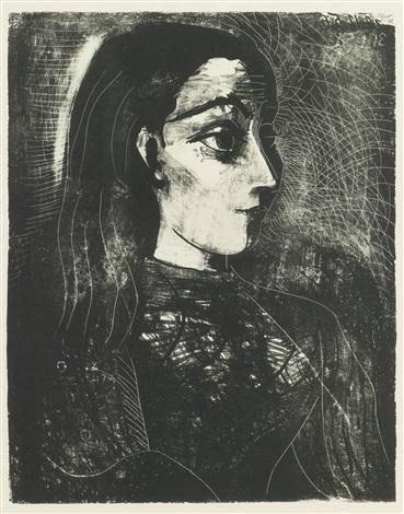 Femme au chignon - Jacqueline de portrait a droite by Pablo Picasso ...