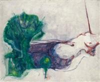 femme route à l'arbre vert by bernard dufour