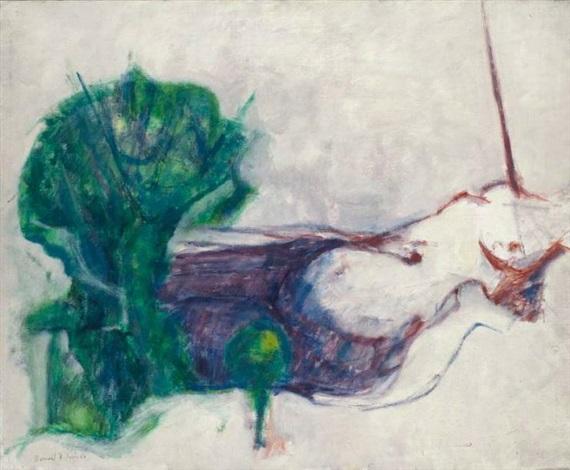 femme route à larbre vert by bernard dufour