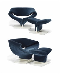 ribbon lounge chairs and ottomans (pair) by pierre paulin