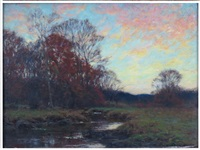 autumn landscape with stream by william merritt post