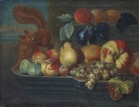 stillleben, verschiedene früchte und ein eichhörnchen by anton graff