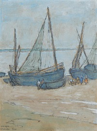fishing boats on the shore of etaples by isobel rae