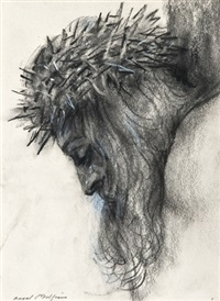 head of christ (+ head of christ; 2 studies) by raoul millais
