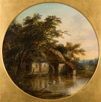 watermill beside the gipping (+ cottage beside the gipping; pair) by robert burrows