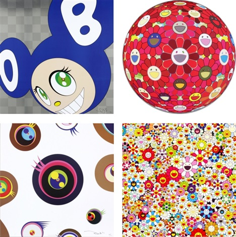 and then and then and then and then and then (blue)/ flower ball (3-d) red cliff/ jellyfish eyes - white1/ flowers in heaven (set of 4) by takashi murakami