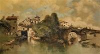 paisaje fluvial con puente by emilio álvarez ayllón (ayón)