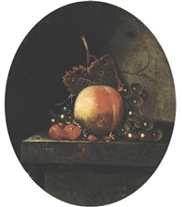 a peach, grapes on the vine, strawberries and blueberries on a stone ledge by adriaen s. coorte