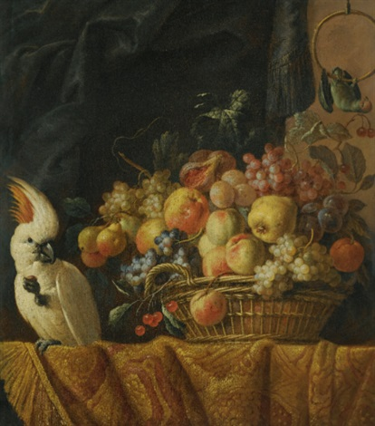 a still life of figs, grapes, apples and other fruit on a table with a parrot by jan pauwel gillemans the elder