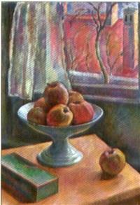 schale mit äpfeln vor herbstlichem fenster by pierre-philippe godet