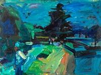 figure in blue, berkeley marina by terry st. john