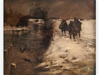 three wanderers in the night by an wintery river by fritz-friedrich boscovits