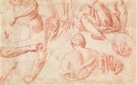 studien zu einer christusfigur und dem engel der verkündigung (+ studien mit faltenwurf-, arm-, bein- und rückenstudien einer frau, verso) by claes cornelisz moeyaert