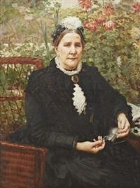 porträtt av kvinna i korgstol by vlacho bukovac