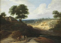 a hilly landscape with figures conversing on a track, a shepherd and his cattle in the distance by lodewijk de vadder