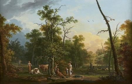 scène pastorale à lorée dune forêt by jean baptiste charles claudot