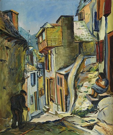 untitled village steet scene by lois mailou jones