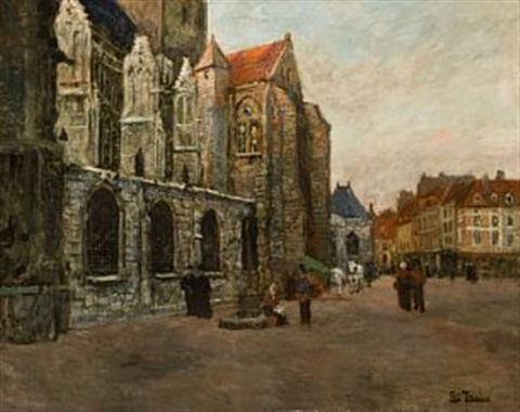 st jacques kirken i dieppe by frits thaulow