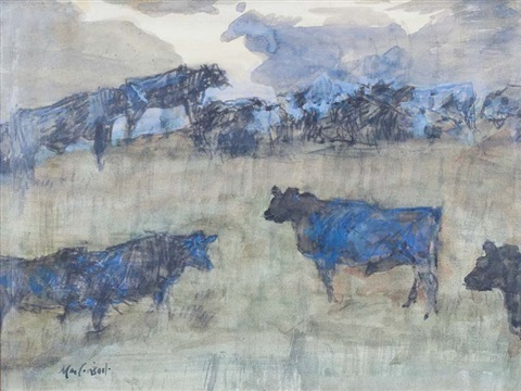 black cattle at night dingle co kerry by maurice macgonigal