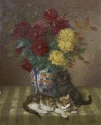 bouquet de fleurs et chats by daniel merlin