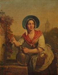 jeune femme à la fontaine by alexis bafcop