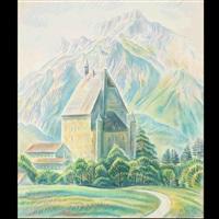 mountainous landscape by theodor allesch-alescha