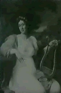 portrait d'une dame dans un habit premier empire avec une  lyre by joseph (giuseppe) collignon