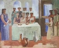 romanos junto a la mesa by aquiles badi