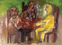 figures at the table by avraham ofek