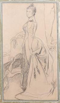 etude pour le portrait de madame speyer, avec reprise du bras by emile wauters