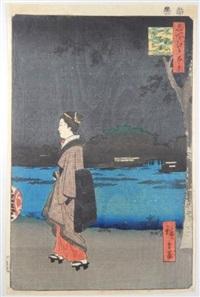 série des 100 vues célèbres d'edo. planche 34 - matsuchiyama sanyabori yakei. vue nocturne de matsuchi-yama et du canal sanya by ando hiroshige