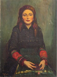 portrait of a girl in national costume by janos laszlo aldor