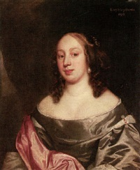 portrait of lady mary bertie wearing a grey dress with red robes by john hayls