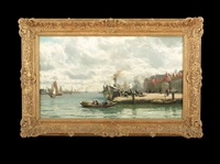 busy harbor scene by continental school