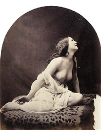 draped nude on animal skin rug by oscar gustave rejlander