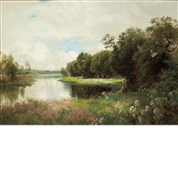 the fringe of the river, ewhurst hill, guildford by john clayton adams