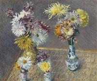 quatre vases de chrysanthèmes by gustave caillebotte