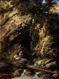 pêcheuses devant la grotte by gabriel hippolyte le bas