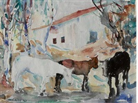 three mules and dairy (recto-verso) by selden connor gile