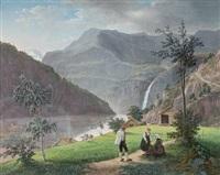 norsk fjordlandskap med bunadskledde mennesker by johannes flintoe