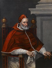 portrait of pope pius iv, three-quarter-length, seated at a draped table by scipione pulzone