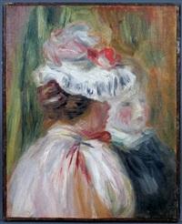 jeune femme au chapeau et visage d'enfant by pierre-auguste renoir