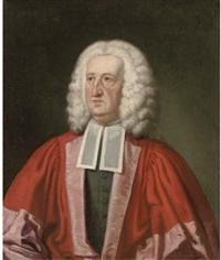 portrait of dr william king (1663-1712), bust-length, in robes by john simbert