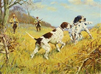 fall outing - dogs on point by frank b. hoffman