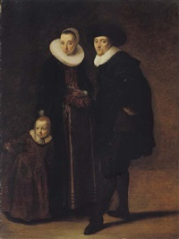 portrait of a married couple with their son by gerard van donck